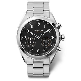 Kronaby 43mm APEX Black Dial Stainless Steel Bracelet A1000-3111 S3111/1 Watch