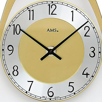 AMS 7417 wall clock quartz with pendulum brass colors printed mineral glass