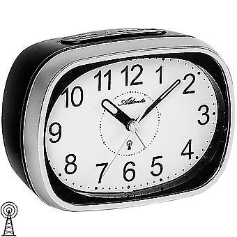 Atlanta 1793/19 alarm stueklokke radiovekkerklokke med lys snooze sølv svart