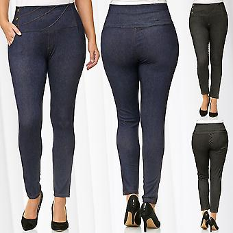 Ladies PlusSize Pants Stretch Trousers Oversize Leggings BigSize Treggings Jeans