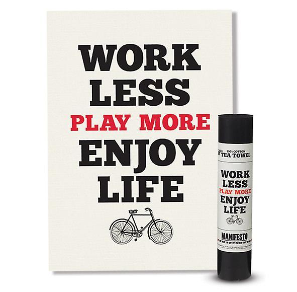 Arbeid mindre spille mer nyte livet manifest kjøkkenhåndkle av Wild & ulv