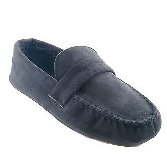 SlumberzzZ Mens Fleece Lined Faux Suede Moccasin Slippers