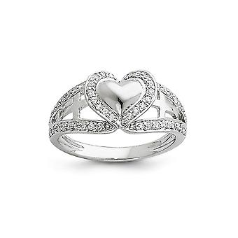 925 Sterling Silver Polished Gift Boxed Rhodium plated and CZ Cubic Zirconia Simulated Diamond Love Heart Ring Jewelry G