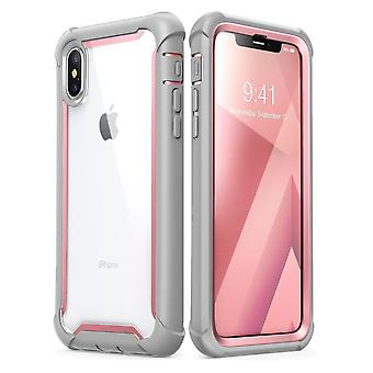 i-Blason iPhone XS Case, iPhone X Case Ares Full-Body Rugged Clear Bumper Cover with Built-in Screen Protector, Pink