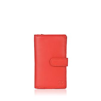 16cm Leather Tab Purse in Red