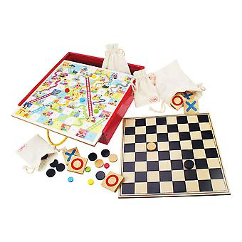Bigjigs Toys Wooden Board Games Compendium Tiddly Winks, Snakes & Ladders