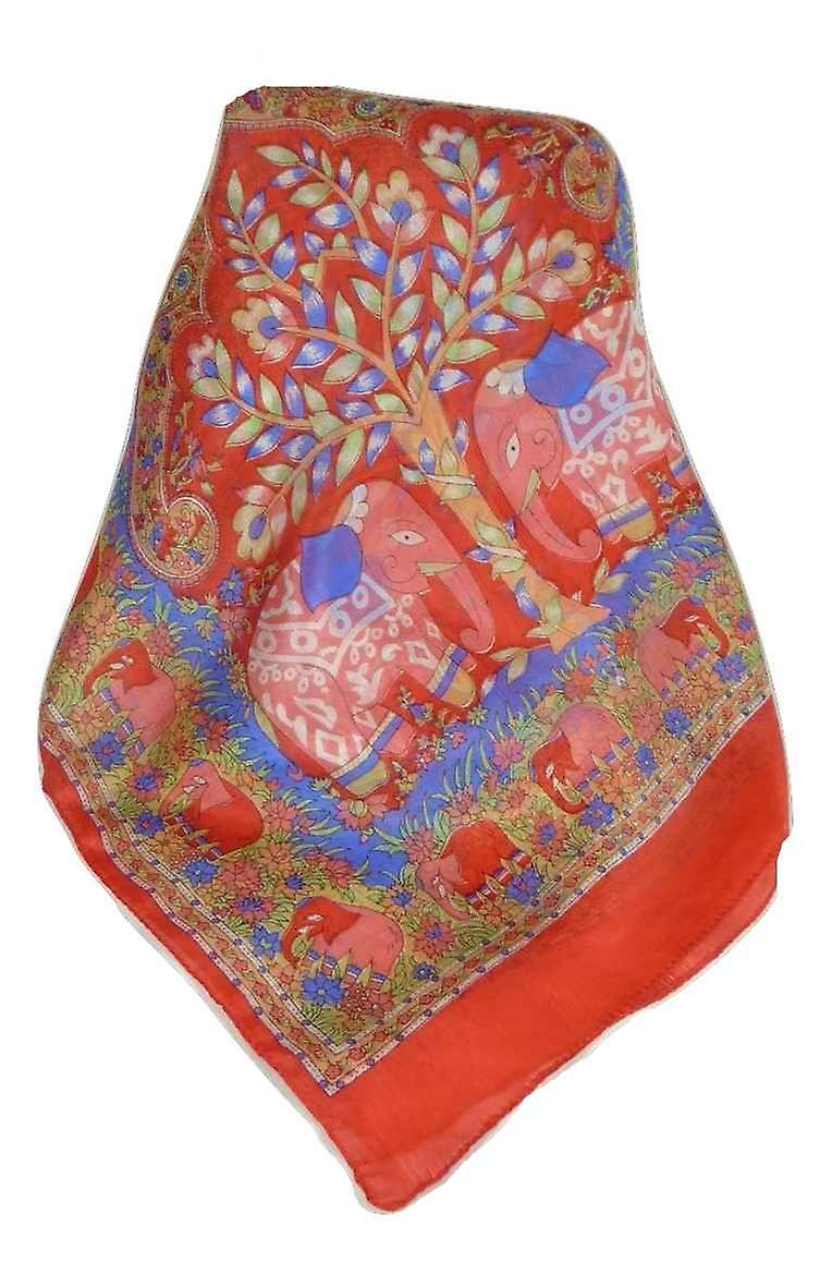 Mulberry Silk Traditional Long Scarf Kibe Flame by Pashmina & Silk