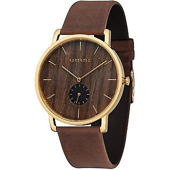 Grooved wood mens watch Fritz Walnut tobacco
