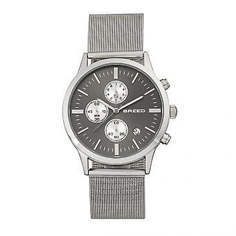 Breed Espinosa Chronograph Mesh-Bracelet Watch w/ Date - Silver/Gunmetal