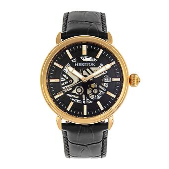 Heritor Automatic Mattias Leather-Band Watch w/Date - Gold/Black