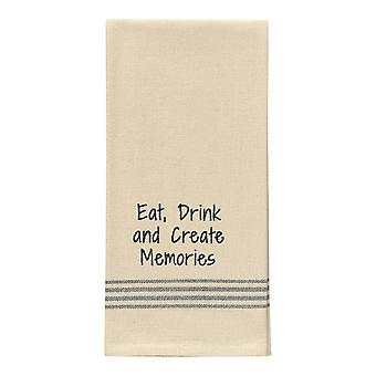 Eat Drink Create Memories Flour Sack Stripe Embroider Kitchen Dish Towel 28 Inch