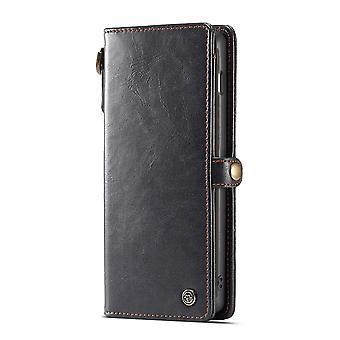 CASEME Samsung Galaxy S10 + retro lederen portemonnee case-zwart