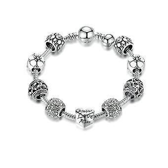 Bracelet Femme Charm's Coeur orné de cristal de Swarovski Gris et plaqué Argent 8123
