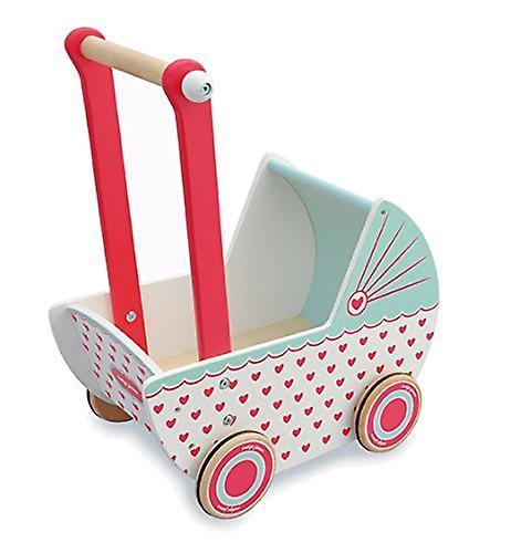 Indigo Jamm Wooden Dolls Pram, Retro Design Toy Pushchair with Rubber Edged Wheels � Hearts