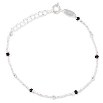 Rhodié Silver Bracelet With Black Pearl 16cm - 3cm
