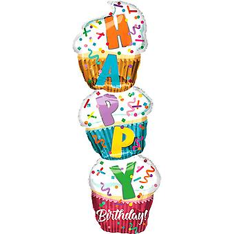 Anagram Happy Birthday! Stacked Cupcakes Supershape Foil Balloon