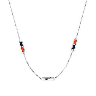 Detroit Tigers Sterling Silver Engraved Triple Station In Necklace Blue and Orange
