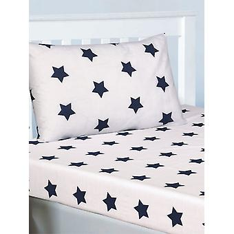 Navy Blue and White Stars Fitted Sheet and Pillowcase Set