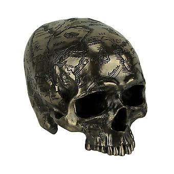 Bronze Finish Craniumography Old Treasure Map On Skull Statue