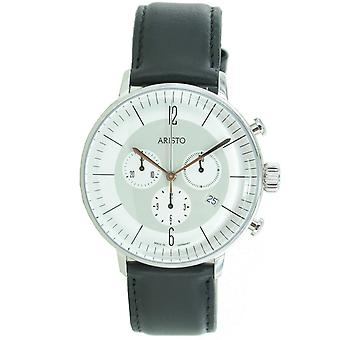 Aristo mens watch chronograph stainless steel 4 H 178 leather