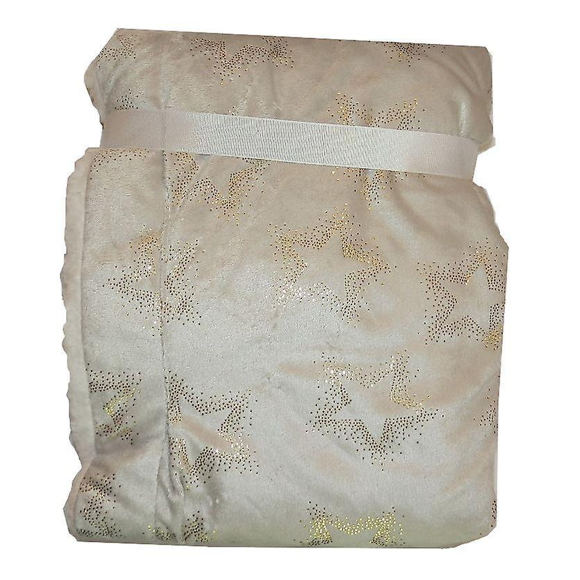 Grey Gold Star Mink Sherpa Fleece Lined Baby Blanket