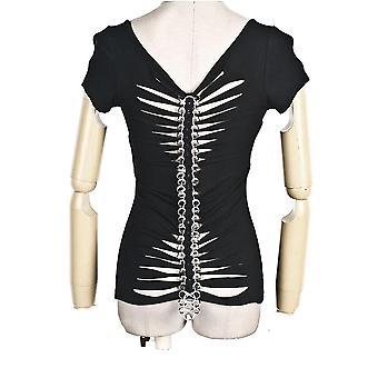 Punk-rave - metal spine - womens top - black