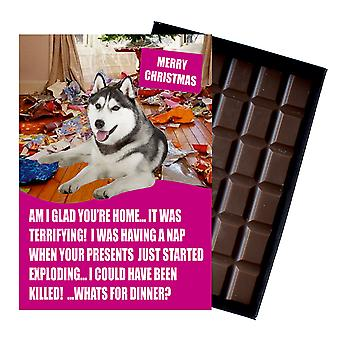Siberian Husky Gifts For Dog Lover Boxed Chocolate Greeting Card Xmas Present
