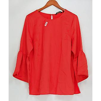 Du Jour Women's Top Bell Sleeve Tunic Back Keyhole Red A300217