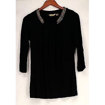 Motto 3/4 Sleeve Embellished Crew Neck Black Top A202833