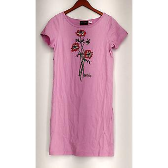 Bob Mackie Short Sleeve Floral Embroidered T Shirt Dress Pink A225194
