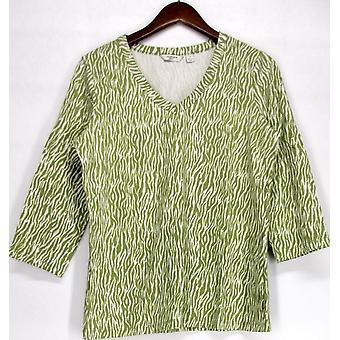 Liz Claiborne York 3/4 Sleeve Zebra Print Top Fern Green A221246