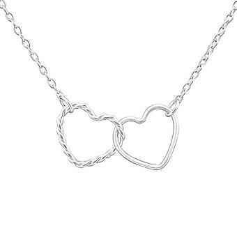 Double Heart - 925 Sterling Silver Plain Necklaces - W24887x