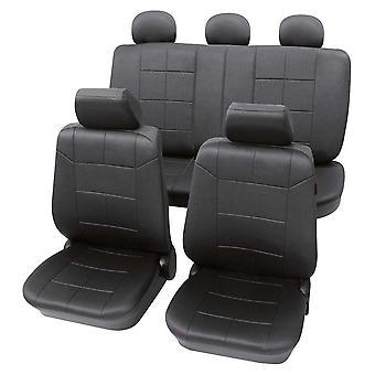 Leder Sitzbezüge Look dunkel grau für VW Polo 1994-2000