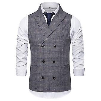 Allthemen Men's Plaid Double-Breasted Peak Lapel Business Casual Suit Vest