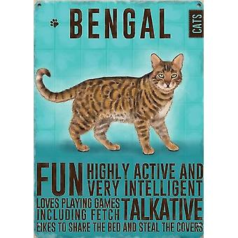 Medium Wall Plaque 200mm x 150mm - Bengal Cat by The Original Metal Sign Co