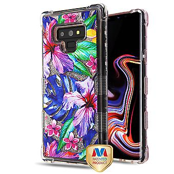 MYBAT aquarel Hibiscus/zilver TUFF Quicksand glitter Lite Hybrid Protector cover cover voor Galaxy Note 9