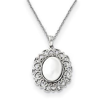 925 Sterling Silver polerad gåva Boxed Spring Ring Rhodium pläterade Shell Pearl 18inch Halsband Smycken Gåvor för kvinnor