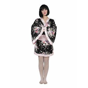 Japansk kostym kimono Svart Rosa karneval Geisha kvinnors kostym asiatin Asien Japan Ladies