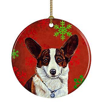 Corgi copo de nieve rojo vacaciones Navidad adorno cerámica LH9333