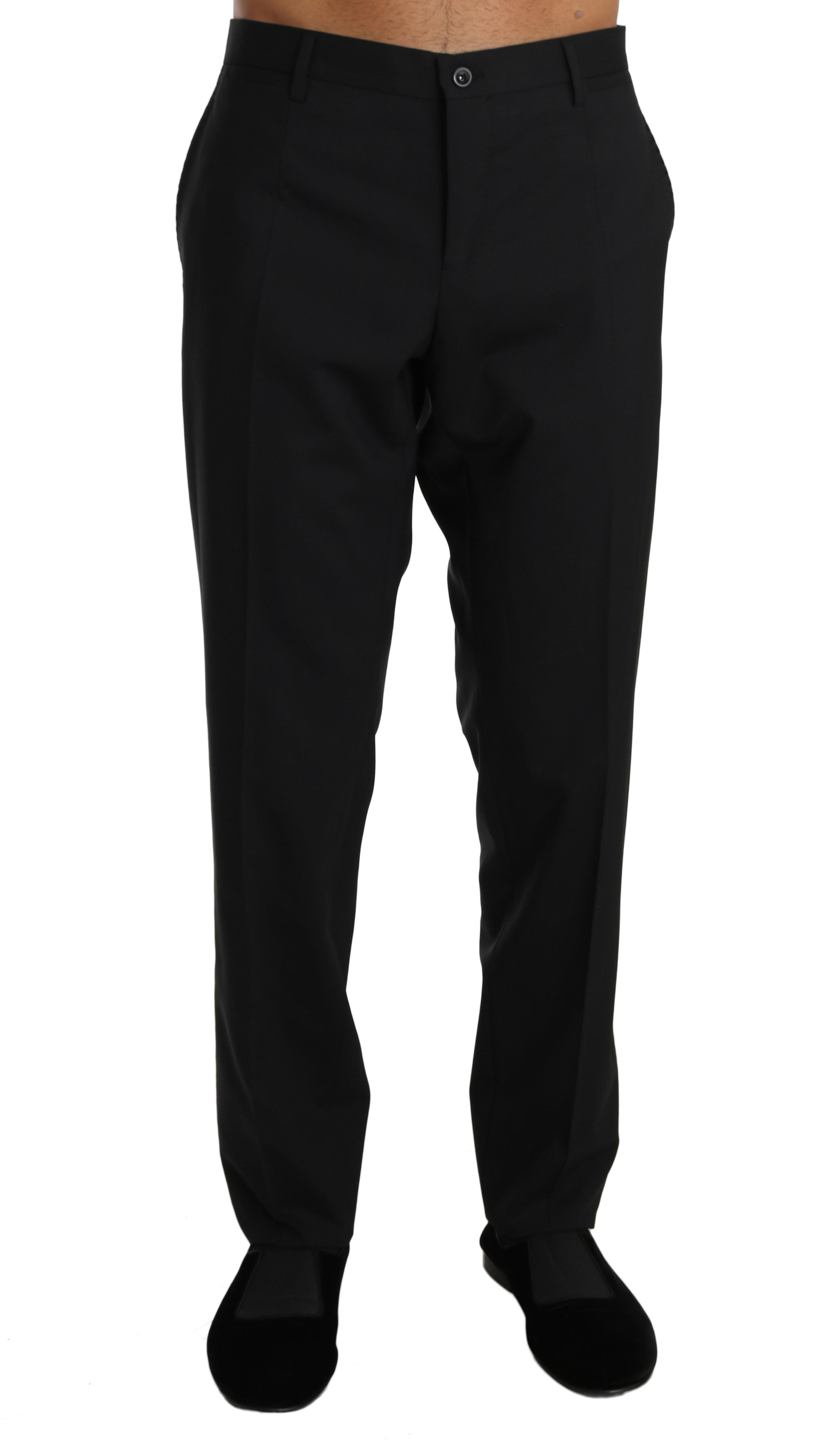 Black Wool Stretch Dress Formal Trousers