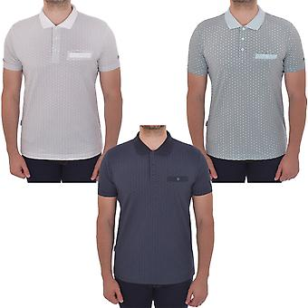 Lambretta Herre geometriske AOP casual logo krave kortærmet Polo skjorte tee top