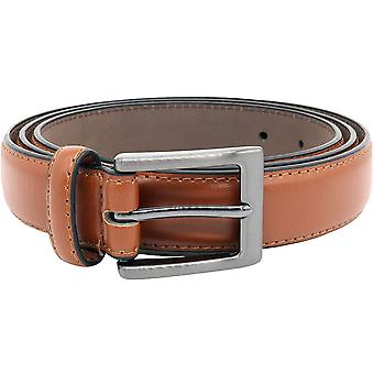 Duke D555 Mens Anthony Square Buckle Edge Stitched Casual Adjustable Belt - Tan