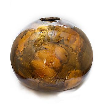 Florero de mesa de cerámica redonda de cobre y bronce