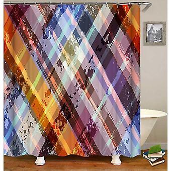 Cortina de ducha a cuadros multicolor