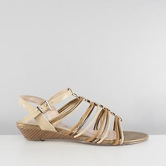 Comfort Plus Acton Ladies Strappy Wedge Sandals Brown