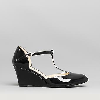 Comfort Plus Sissy Ladies Wide Fit Wedge Heel Shoes Black