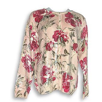 Isaac Mizrahi Live! Frauen's Pullover Cardigan Rose Print rosa A284091