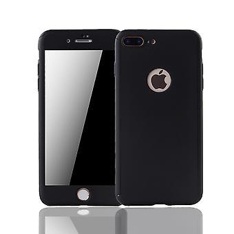Apple iPhone 8 plus mobiltelefon sag beskyttende sag dække tank beskyttelse glas, sort