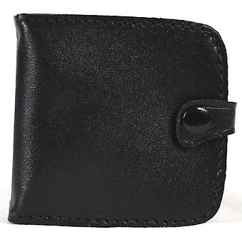 Real Leather Pocket Money Tray Purse with Note and Coin Slots (Black)
