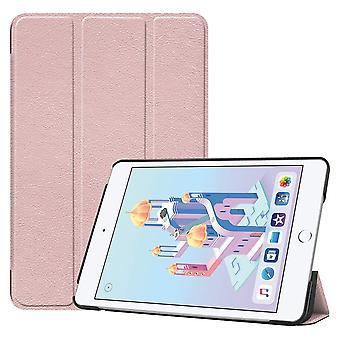For iPad mini 5 (2019) Case Rose Gold Karst Texture Smart PU Leather Folio Cover